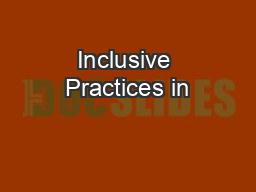 Inclusive Practices in