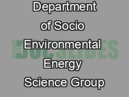 Department of Socio Environmental Energy Science Group
