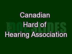 Canadian Hard of Hearing Association
