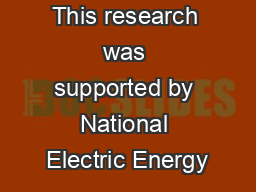 This research was supported by National Electric Energy