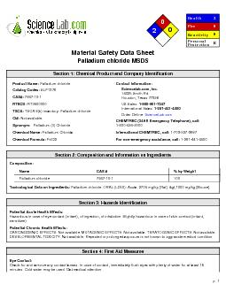 Material Safety Data SheetPalladium chloride MSDS