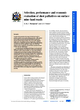 Selection, performance and economic evaluation of dust palliatives ...