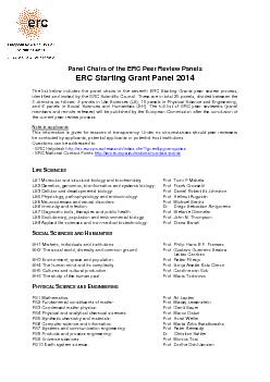 Panel Chairs of the ERC Peer Review PanelsERC Grant Panel 201The list