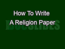 How to write a religion paper