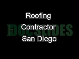 Roofing Contractor San Diego