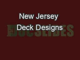 New Jersey Deck Designs