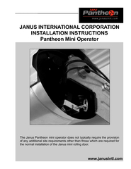 JANUS INTERNATIONAL CORPORATION INSTALLATION INSTRUCTIONS