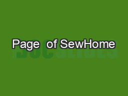 Page  of SewHome