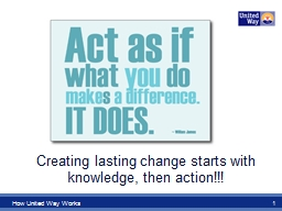 How United Way Works PowerPoint PPT Presentation