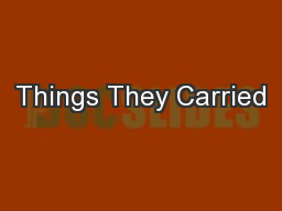Things They Carried