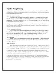 Tips for ParaphrasingParaphrasing is a practical method used when want