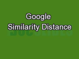 Google Similarity Distance