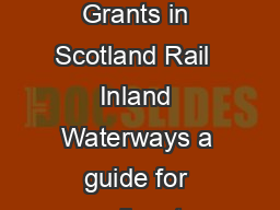 Freight Facilities Grants in Scotland Rail  Inland Waterways a guide for applicants