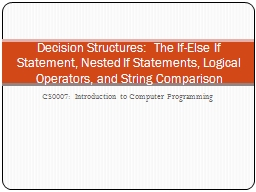 CS0007:  Introduction to Computer Programming PowerPoint PPT Presentation