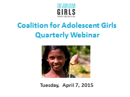 Coalition for Adolescent Girls PowerPoint PPT Presentation