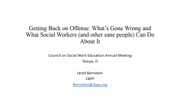 Getting Back on Offense: What's Gone Wrong and What Socia