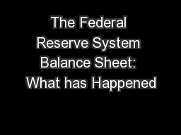 The Federal Reserve System Balance Sheet: What has Happened