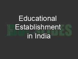 Educational Establishment in India