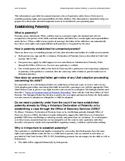 Utah Guidelines Establishing Court-Ordered Paternity: A Guide for Unma
