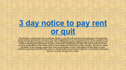3 day notice to pay rent or quit