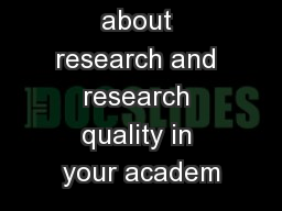Thinking about research and research quality in your academ