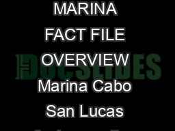 MARINA CABO SAN LUCAS CABO SAN LUCAS MEXICO MARINA FACT FILE OVERVIEW Marina Cabo San Lucas features  slips accommodating vessels up to  feet with a maximum foot draft