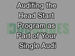 Auditing the Head Start Program as Part of Your Single Audi