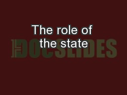 The role of the state PowerPoint PPT Presentation