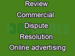 October  Review Commercial  Dispute Resolution Online advertising