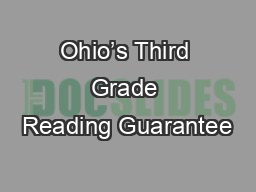 Ohio's Third Grade Reading Guarantee