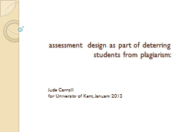 assessment design as part of deterring students from plagia