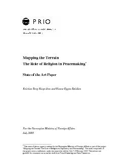 The Role of Religion in PeacemakingHanne Eggen R
