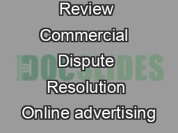 March  Review Commercial  Dispute Resolution Online advertising PDF document - DocSlides