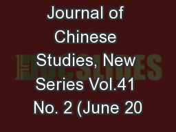 Tsing Hua Journal of Chinese Studies, New Series Vol.41 No. 2 (June 20