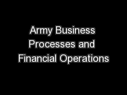 Army Business Processes and Financial Operations