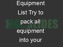 Winter Camping Equipment List Try to pack all equipment into your backpack with room to spare