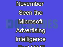 Poker Bing November  Seen the Microsoft Advertising Intelligence Tool MAIT PDF document - DocSlides