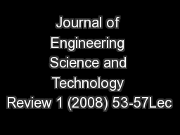 Journal of Engineering Science and Technology Review 1 (2008) 53-57Lec
