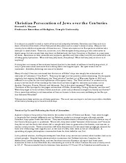 Christian Persecution of Jews over the CenturiesProfessor Emeritus of PowerPoint PPT Presentation