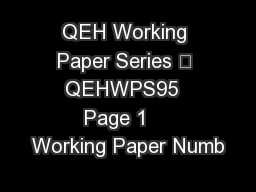 QEH Working Paper Series – QEHWPS95  Page 1    Working Paper Numb