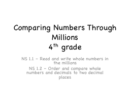 Comparing Numbers Through Millions PowerPoint PPT Presentation