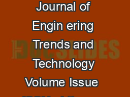 International Journal of Engin ering Trends and Technology Volume Issue  ISSN   httpwww