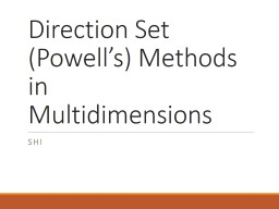 Direction Set (Powell's) Methods in PowerPoint PPT Presentation