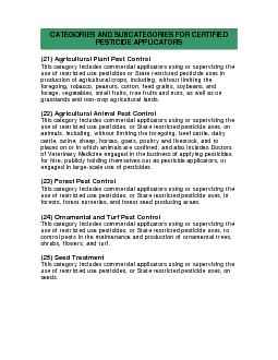 (21) Agricultural Plant Pest ControlThis category includes commercial
