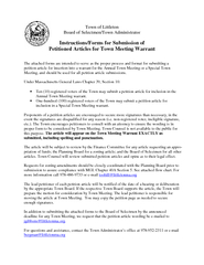 Town of Littleton Board of Selectmen/Town Administrator Instructions/F