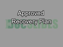 Approved Recovery Plan