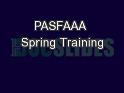 PASFAAA Spring Training