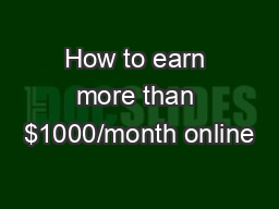 How to earn more than $1000/month online