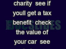 Before you give your car to a charitable organization  check out the charity  see if youll get a tax benefit  check the value of your car  see what your responsibilities are as a donor to a charity A