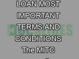 ANNEXURE SBP VEHICLE LOAN MOST IMPORTANT TERMS AND CONDITIONS The MITC covers the following oan roducts